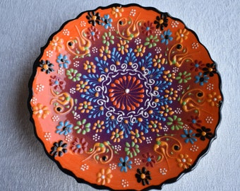 Orange and Blue Ceramic Salad Plate, small side dish for food, trinkets, or wall art