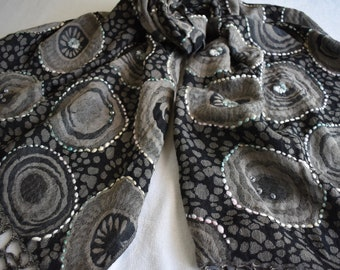 Merino Wool Scarf, embroidered and beaded, Black and Smoky Gray