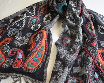 Merino Wool Scarf, embroidered and beaded, Navy and Gray