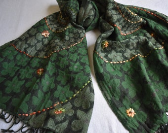Merino Wool Scarf, embroidered and beaded. Forest Green and Black