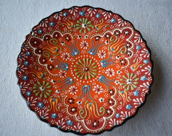 Shades of Orange Ceramic Salad Plate, small side dish for food, trinkets, or wall art
