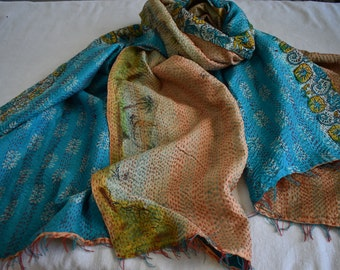 Kantha Silk Throw, Azure, Maize, and Soft Peach, Tropical Fun, Repurposed and Reversible