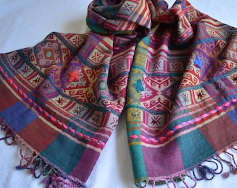 Merino Wool Scarf, beaded and embroidered, Gem Tone Aztec-Inspired design