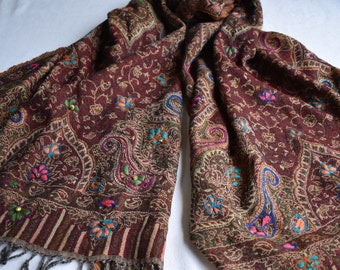 Merino Wool Scarf, embroidered and beaded, Burgundy and Brown