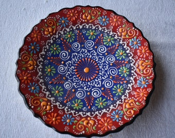 Sapphire and Red Ceramic Salad Plate, small side dish for food, trinkets, or wall art