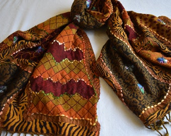 Merino Wool Scarf, embroidered and beaded, Caramel and Merlot animal print