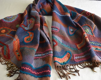 Merino Wool Scarf, embroidered and beaded, Blue and Rust modern art design
