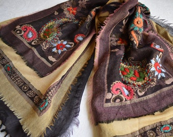 Merino Wool Scarf, embroidered and beaded, Plum and Tan