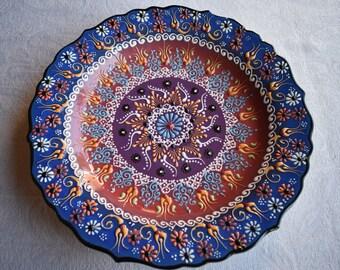 Blue, Russet, and Eggplant Ceramic Platter, large serving plate for food or display