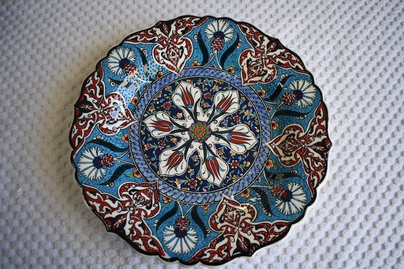 Large Ceramic Platter with an old Turkish tile pattern great image 0