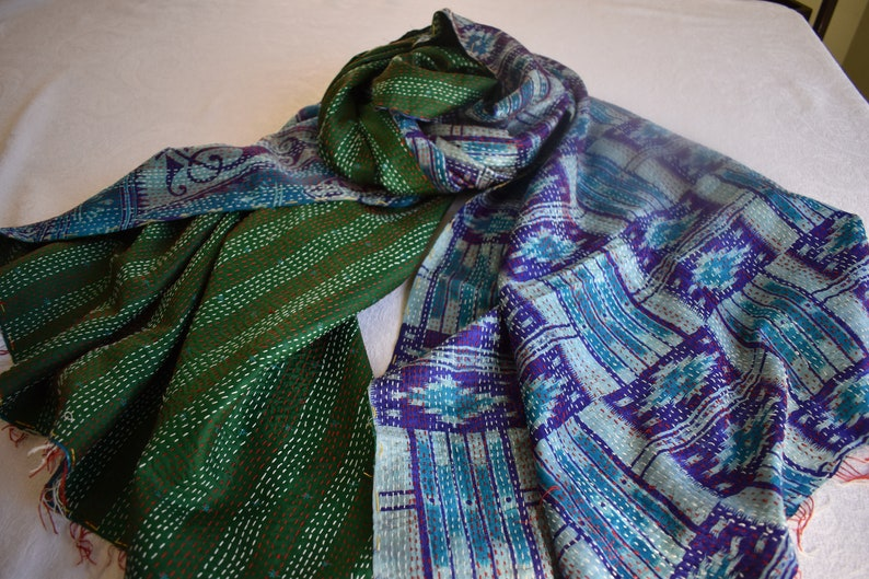 Kantha Quilt Green and Blue Boho Throw or Shawl Re-purposed image 0