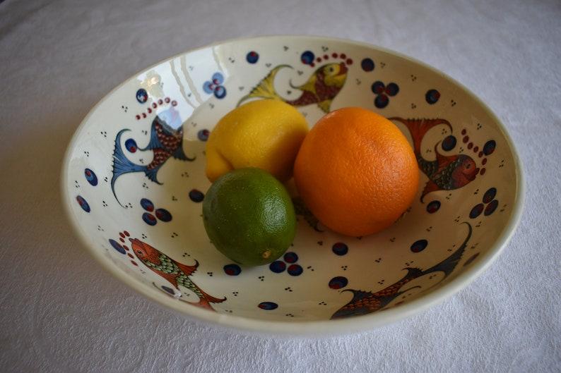 large decorative serving bowl for fruit salad or display Large Ceramic  Bowl with Koi design