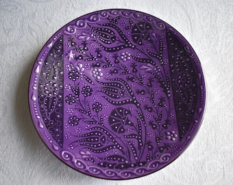 Purple Ceramic Plate, small plate for sides, trinkets or wall art