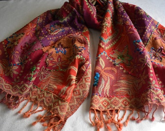 Merino Wool Scarf, embroidered and beaded, Orange and Lavender