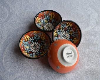 "Orange Ceramic Bowl Set, small 3"" bowls for food or trinkets"