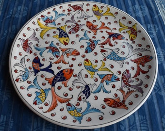 Fish Ceramic Platter, large colorful plate with Koi design