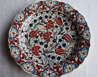 Red and Blue Ceramic Platter, Iznik design, large plate for food or decoration