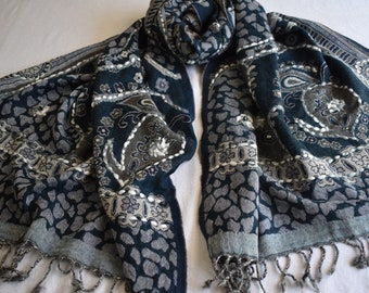 Merino Wool Scarf, embroidered and beaded, Cobalt and Gray