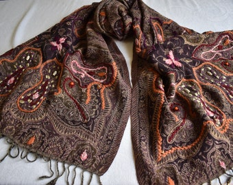 Brown and Fall-toned Merino Wool Scarf, embroidered and beaded large scarf or table runner