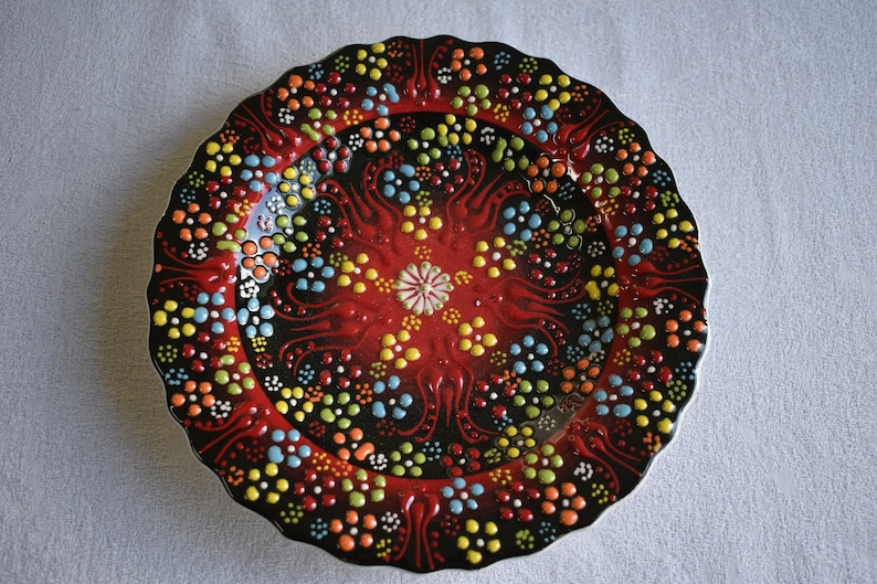 Black and Red Salad Plate small plate for sides trinkets or image 0
