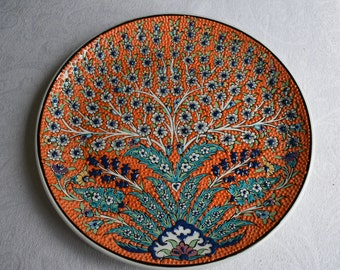 Orange Ceramic Platter, Tree of Life, large serving plate or wall art