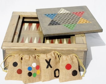 game table wood board games backgammon checkers chinese etsy