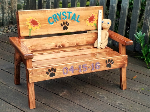 image 0 - Pet Memorial Bench Personalized Dog / Cat Wood Furniture Pet Etsy