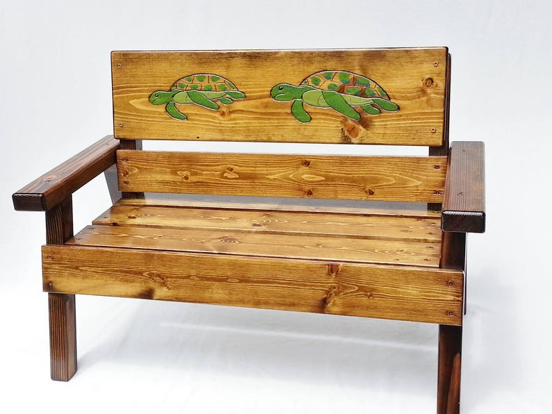 Nautical Sea Turtle Outdoor Bench Kids Wood Patio Furniture Etsy