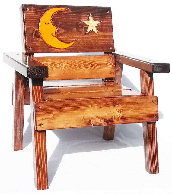 Peachy Childrens Country Wood Outdoor Chair Kids Toddler Whimsical Furniture Garden Patio Farm Reclaimed Wood Engraved Moon Art Panel Caraccident5 Cool Chair Designs And Ideas Caraccident5Info
