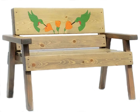 Marvelous Engraved And Painted Kids Wood Bench Hummingbird Art Childrens Outdoor Furniture Toddler Boy Girl Gift Country Garden Recycled Wood Andrewgaddart Wooden Chair Designs For Living Room Andrewgaddartcom