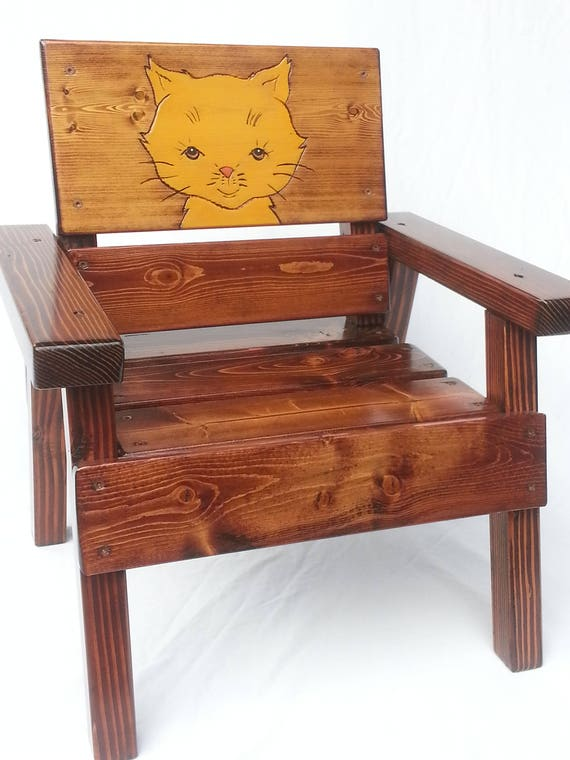 Remarkable Outdoor Wood Kids Chair Childrens Furniture Engraved Folk Art Cat Toddler Boy Or Girl Heirloom Gift Birthday Shower Reclaimed Wood Caraccident5 Cool Chair Designs And Ideas Caraccident5Info