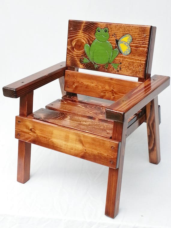 Outdoor Wood Furniture Whimsical Painted and Engraved Emoji Kids Chair 12 Children Toddler Folk Art Gift Boy or Girl