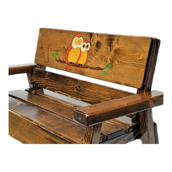 Wondrous Owl Wood Bench Childrens Outdoor Furniture Kids Wood Furniture Toddler Furniture Recycled Garden Bench Engraved And Painted Decor Machost Co Dining Chair Design Ideas Machostcouk