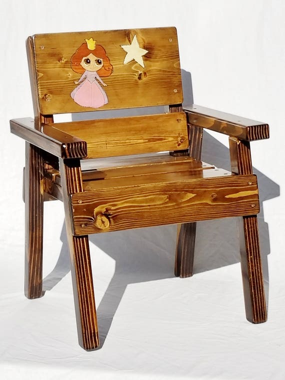 Childrens Wood Princess Chair, Kids Outdoor Furniture, Toddler+ Painted and Engraved Princess Shower Gift, Reclaimed Wood