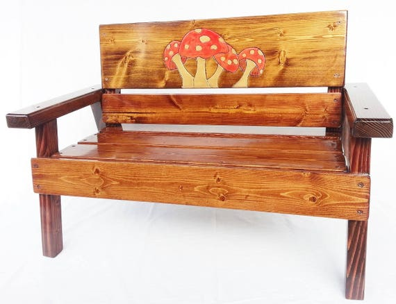 Astounding Childrens Gift Outdoor Kids Bench Boy Girl Toddler Furniture Garden Or Patio Painted Engraved Mushroom Panel Reclaimed Wood Chair Gmtry Best Dining Table And Chair Ideas Images Gmtryco