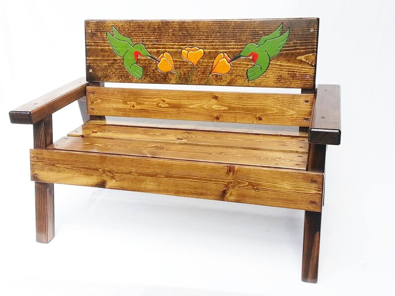 Engraved And Painted Kids Wood Bench Childrens Outdoor Etsy