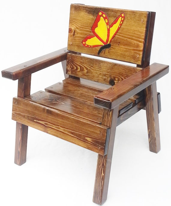 Stupendous Whimsical Painted Kids Butterfly Chair Childrens Outdoor Patio Wood Chair Toddler Chair Garden Furniture Reclaimed Wood Engraved Caraccident5 Cool Chair Designs And Ideas Caraccident5Info