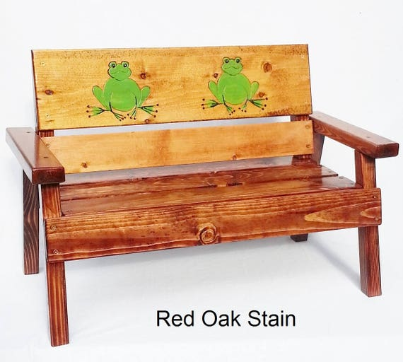 Groovy Childrens Wood Outdoor Bench Kids Furniture Toddler Country Farm Patio Reclaimed Wood Boy Or Girl Engraved Painted Frog Panel Alphanode Cool Chair Designs And Ideas Alphanodeonline
