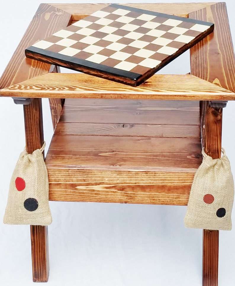 Superbe Chess Or Checkers / Backgammon Game Table, Reversible Wood Gaming Panel,  Reclaimed Wood, Hand Painted Patio Furniture
