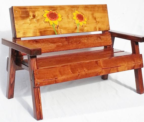 Childrens Outdoor Garden Bench Kids Wood Furniture Toddler Etsy