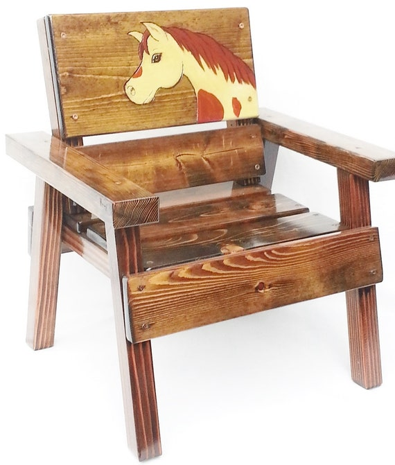 Childrens Wood Furniture, Kids Chair, Toddler + Boy or Girl Gift, Outdoor Country, Farm, Garden, Patio, Engraved Painted Horse Folk Art