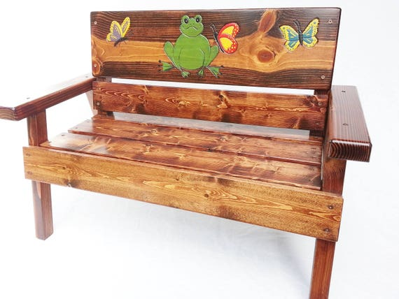 Fabulous Childrens Garden Bench Outdoor Furniture Reclaimed Wood Boy Girl Kids Preschool Gradeschool Country Farm Decor Engraved Frog Butterfly Short Links Chair Design For Home Short Linksinfo