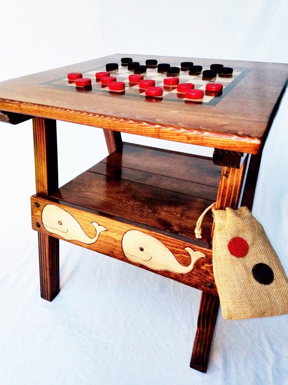 Nautical Checkers Game Activity Table Wood Patio Furniture Etsy