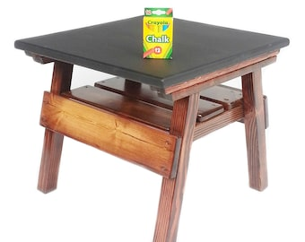 Childrens' Furniture Chalkboard Game Table, Kids Toddlers Activity Table Boys or Girls Room, Wood