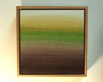 Horizon Green - Hand Painted Acrylic Painting on Canvas with Canvas Float Frame