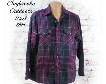 men's plaid shirt - wool shirt -outdoors men shirt -  purple plaid shirt - button down shirt - work shirt -    # 18