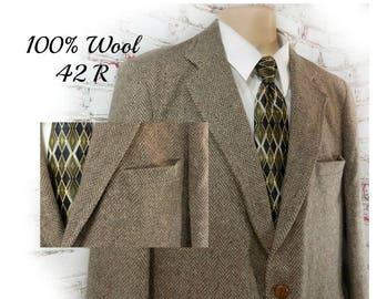 men's wool Sport coat, men's brown blazer, men's sports jacket, men's blazer, brown wool sport coat , 42 R  - # 120 A