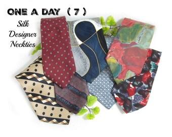 vintage tie lot, designer tie lot - necktie lot -  suit tie, gift for him, wide tie, 7 Ties,      # 174