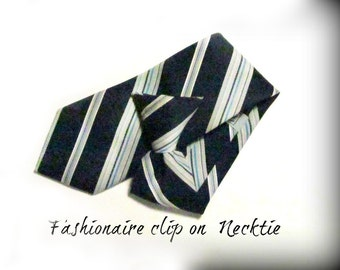 Navy stripped  tie - Clip on tie, clip necktie, blue tie, Men's tie,  70's tie    # T 76