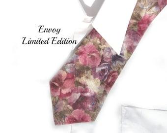 floral tie - flower tie - wide flora tie - polyester tie - pink floral tie - men's accessories - Flower necktie - Pink tie -  # T 38